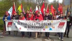 DGB-Jugend auf der Maidemo in Augsburg