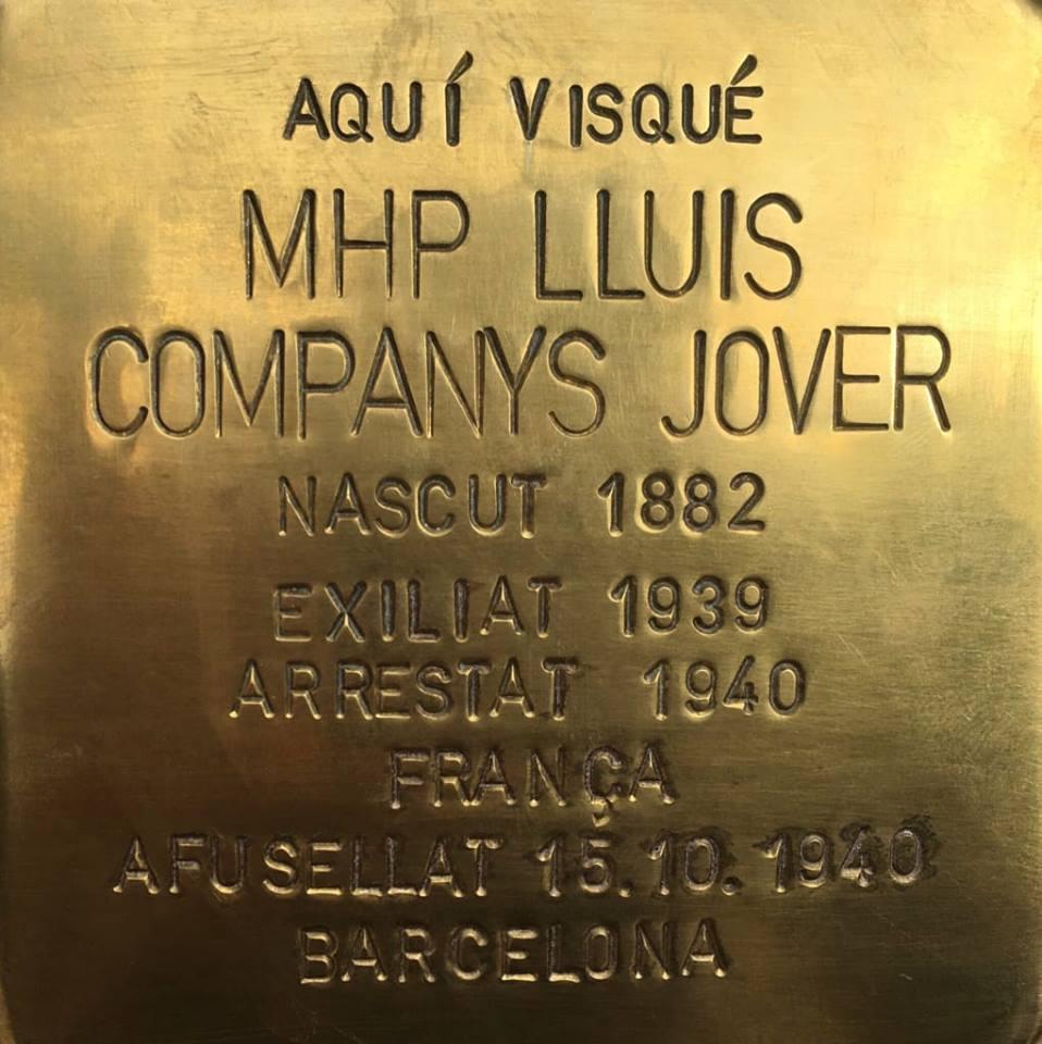 Stolperstein für Lluis Companys in Barcelona