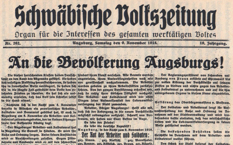 Schwäbische Volkszeitung, 9. November 1918